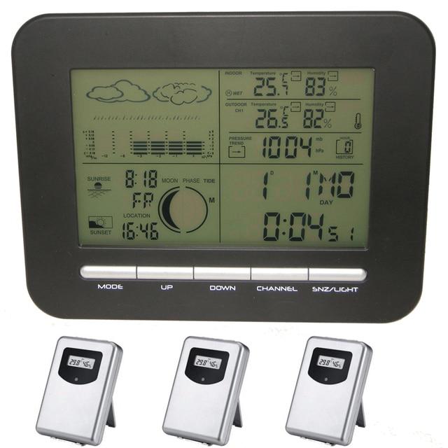 c7003d9f6 Estación meteorológica Digital barómetro reloj termómetro higrómetro  inalámbrico de interior al aire libre de humedad medidor