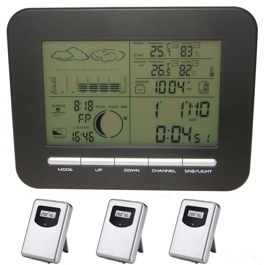 Weather Station Digital Barometer Clock With Thermometer Hygrometer Wireless Indoor Outdoor Humidity Temperature Gauge&Alarm