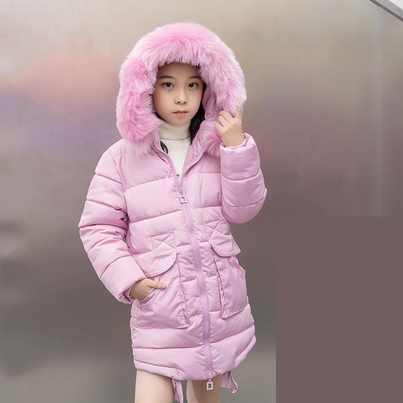 цена на 2018 New Children Winter Jacket Girl Winter Coat Kids Warm Thick Fur Collar Hooded Long Cotton Coats For Teenage Clothes Costume