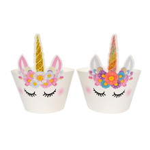 24pcs best quality cartoon Unicorn Horse cupcake wrappers candy box kids birthday party supplies wedding supplies(China)