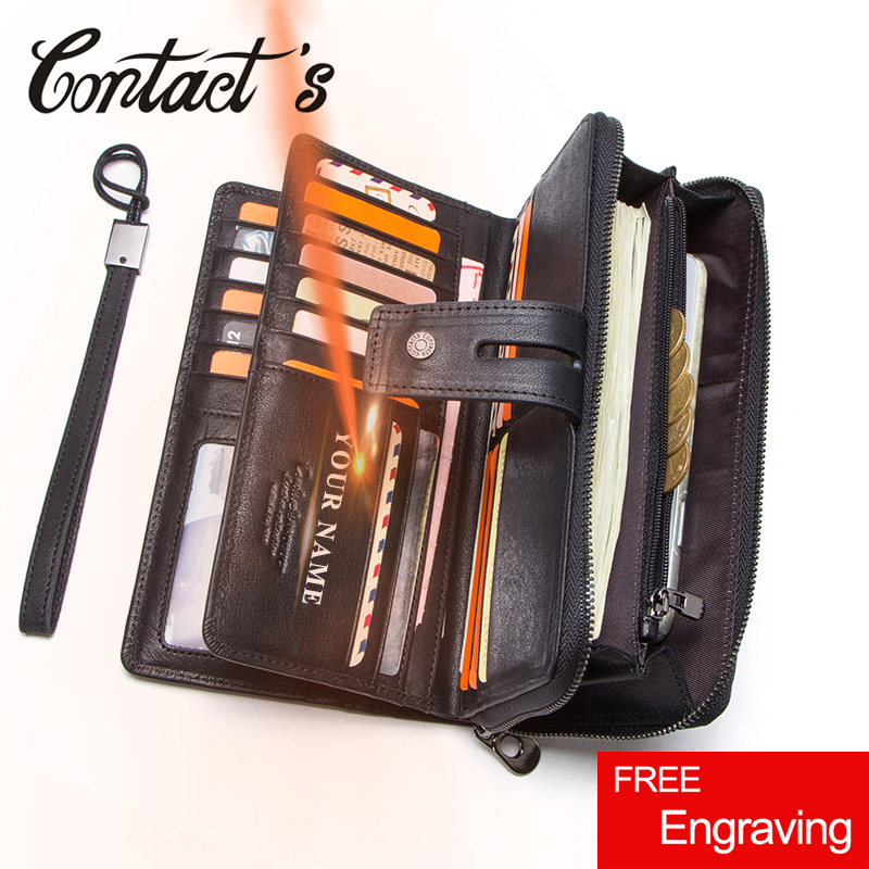 Contact s Genuine Leather Long Wallet Large Capacity Men Coin Purse Male Clutch Wallets Cell Phone