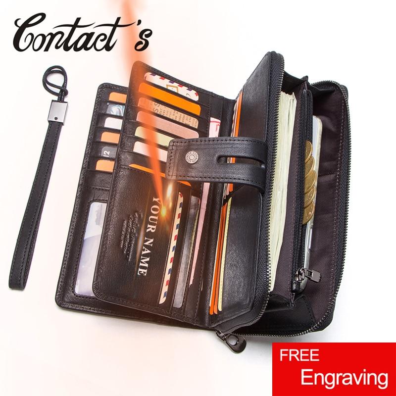 ติดต่อของแท้หนังยาวกระเป๋าสตางค์ขนาดใหญ่ความจุกระเป๋าเหรียญผู้ชายชายคลัทช์กระเป๋าสตางค์โทรศัพท์มือถือกระเป๋า Portomonee ผู้ถือบัตร-ใน กระเป๋าสตางค์ จาก สัมภาระและกระเป๋า บน   1