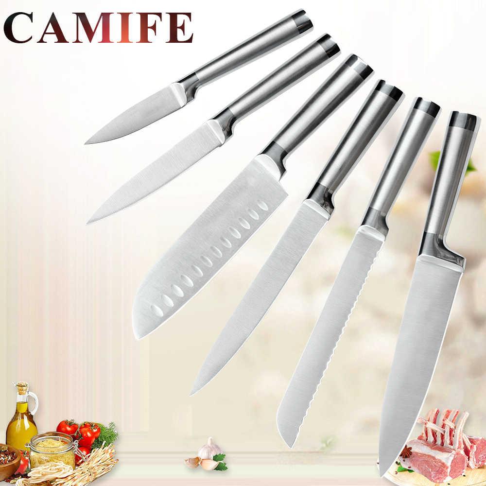 Stainless Steel Set Kitchen Knives Set Accessories Fruit Paring Utility Santoku Chef Slicing Bread Japanese Kitchen Knife Set