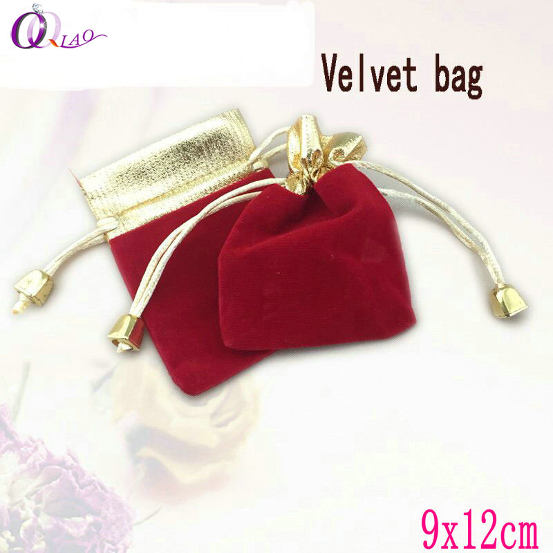 10Pcs/pack 9x12cm Velvet Flannel Drawstring Pouch Bag,Jewelry Bag For Christmas Wedding Gift Packing,Jewelry Packaging & Display