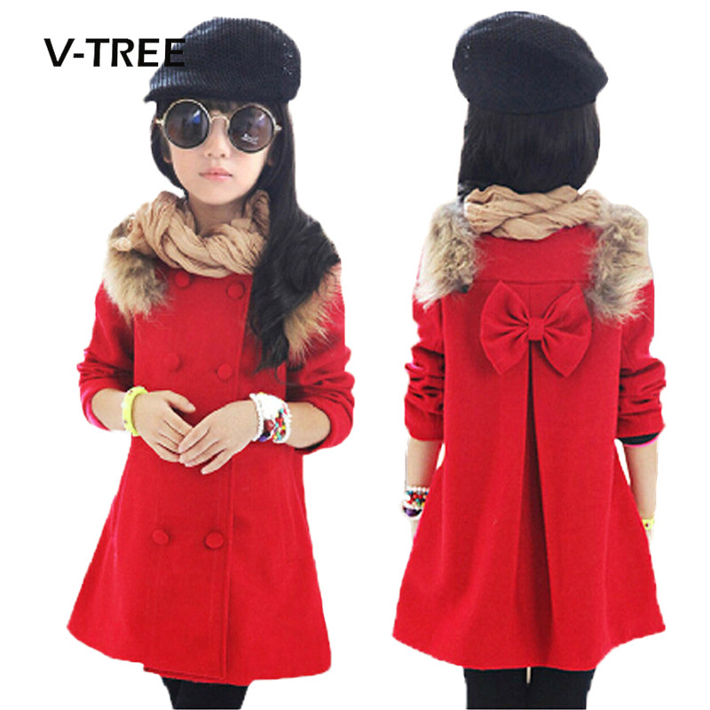 V-TREE New Girls Winter Jacket Coat Fashion Wool Blend Warm Coat For Girl 3-12 Years Kids Coat Clothing School Girls Clothes peak lapel pocket wool blend pea coat
