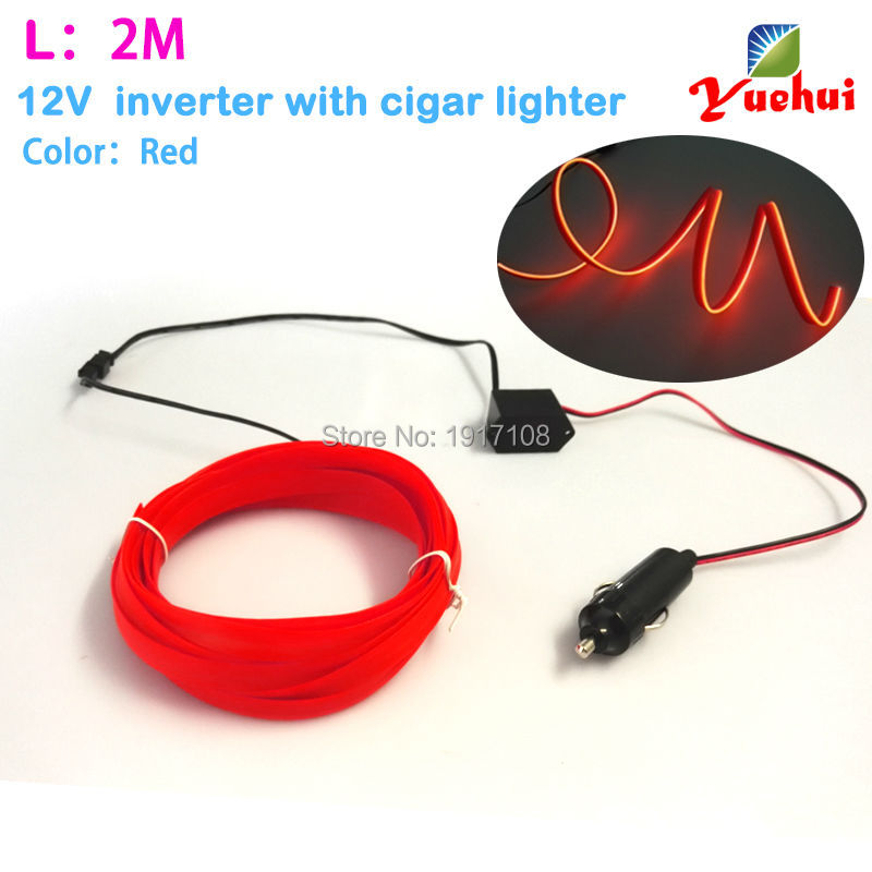 2017 DC-12V By Car Cigar Lighter 2M Red 2.3mm-Skirt 10 Color Available EL Wire Neon Light Tube For Costume Wedding Decoration