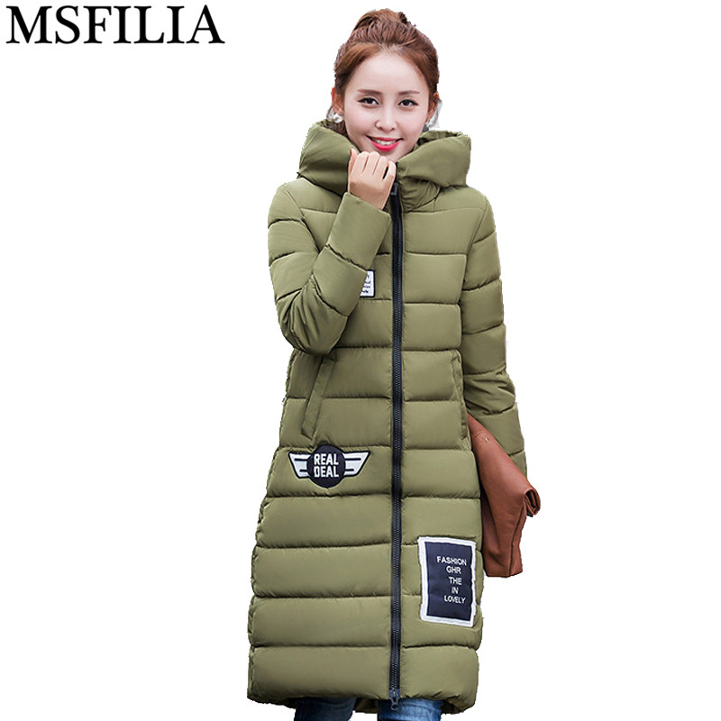 ФОТО 2016 Winter Jacket Women Parka Outerwear Long Section Of Thick Knee Coat Christmas Hats Winter Coat Women Hooded Print
