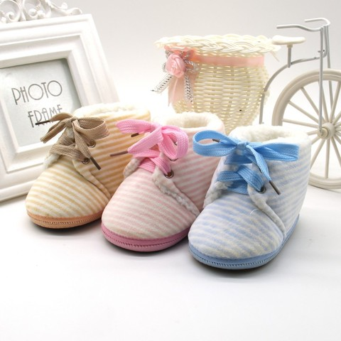 Autumn Winter Baby Non-slip Striped Shoes Winter Warm Boys Girls Lovely First Walkers Unisex Fashion Kids Shoes Islamabad