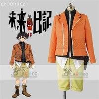 Anime Mirai Nikki amano Yukiteru Üniforma Şekil Suit Cosplay Kostüm Turuncu Ceket Parti yukiteru amano Yortusu Giyim YENI