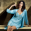 2016 New Arrival Emulation Silk Robe Sets Three Quarter Women Bathrobes Sexy V-Neck Lace Robes Embroidery Mini Blue Nightgowns