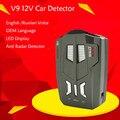 V9 Carro Detector De Radar A Laser 360 Graus 16 banda liderada indicação da Velocidade da rússia/Inglês Voz Anti Alerta de Aviso de Radar detectores