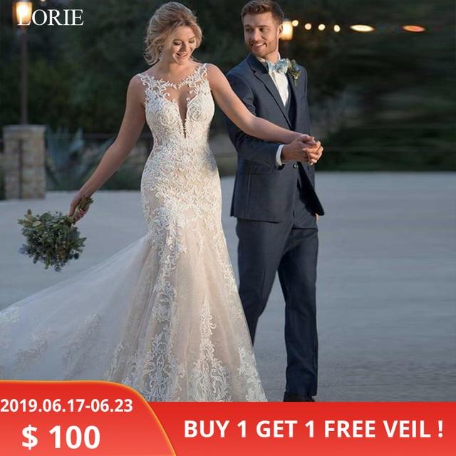 לורי 2019 קיץ בת ים חתונת שמלת תחרה אפליקציות כלה שמלות כלה תחרה שמלות תפור לפי מידה בתוספת גודל גלימת דה mariee
