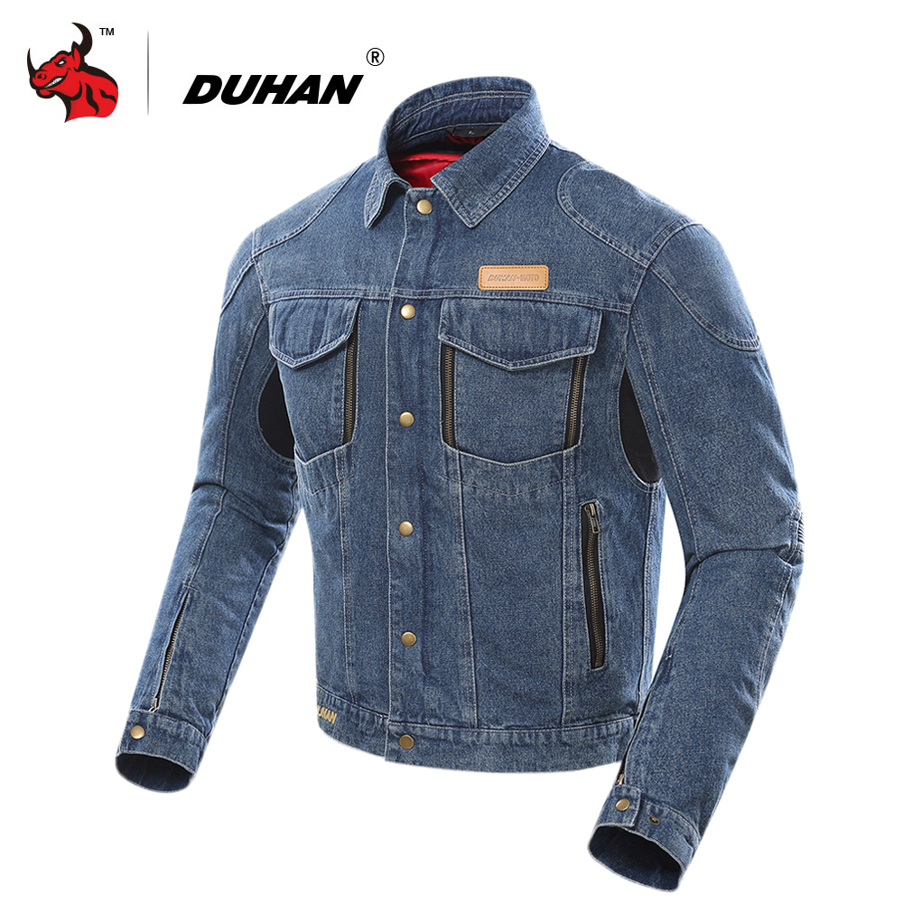 DUHAN Motorcycle Jacket Men Motocross Casual Denim Jacket Windproof Moto Jacket Protective Gear Whith Removable Cotton