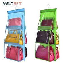 6 Pocket Hanging Handbag Organizer for Wardrobe Closet Transparent Storage Bag Door Wall Clear Sundry Shoe Bag with Hanger Pouch(China)