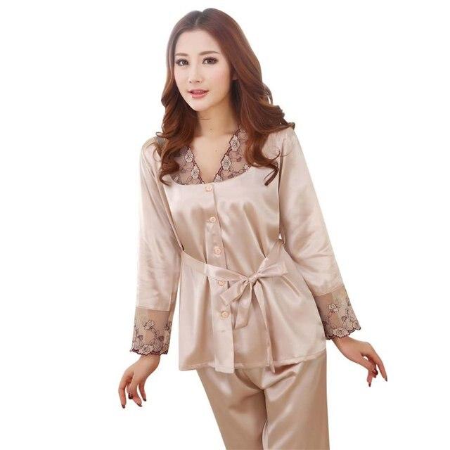 Women Long Sleeve Satin Silk Lace Solid Casual Nightwear Sleepwear Pajama Set 2 PCS