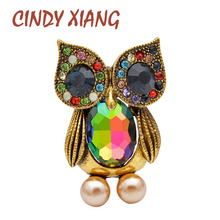 CINDY XIANG 3 Colors Available Crystal Cute Owl Brooches For Women Vintage new design Animal Bird Pin Fashion Kids Jewelry Gift
