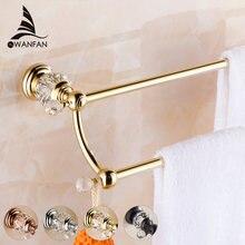 Barras de toalla pared toalla doble barra oro titular de toalla latón  sólido y cristal toallero 146a05cc4928