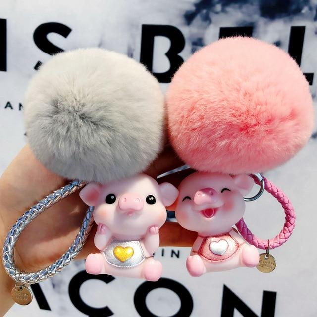 Animal dos desenhos animados Fluffy Rabbit Fur Pom Pom Bonito Amor Porco Boneca Chaveiro Sino Pompons Mulheres Anel Chave Do Carro Chave Bolsa chains Bijuterias