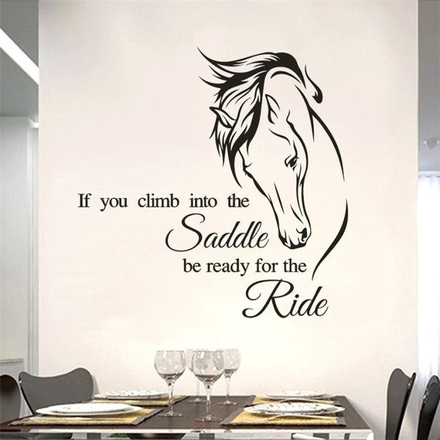 horse drawing wall sticker letter if you climb into the saddle quote