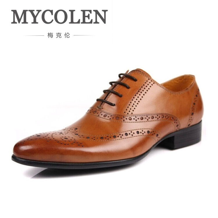 MYCOLEN 2017 New British Style Mens Pointed Toe Dress Shoes Leather Business Social Shoe Brown Men's Brogues Sapatos Masculino mens genuine leather oxfords shoes for men breathable stitching dress shoe british style casual flats oxford pointed toe zapatos