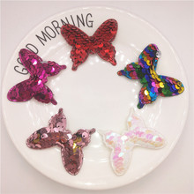 5pcs/lot 5x4cm Sequin Butterfly Padded Applique for DIY Children headwear Accessories & Craft Decoration