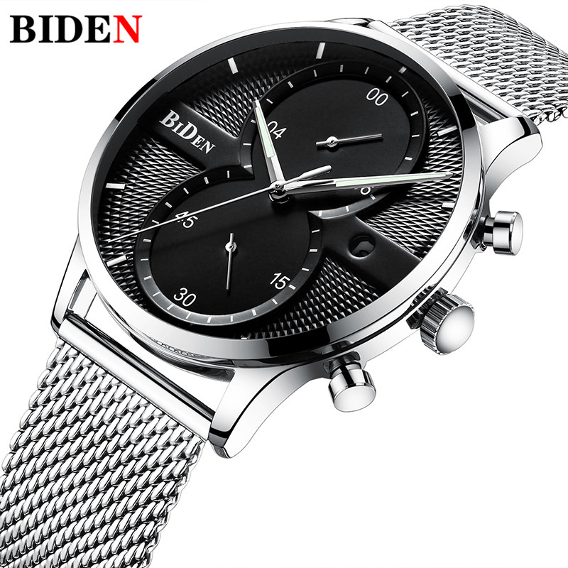 Biden Chronograph Date Sports Wrist Steel Mesh Band Waterproof Military Male Clock Gift