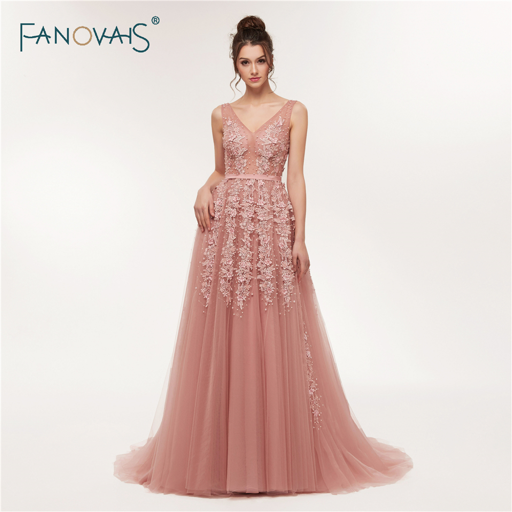 Big Sale Sexy Evening Dresses Long 2018 V-Neck Prom Dresses Luxury ...