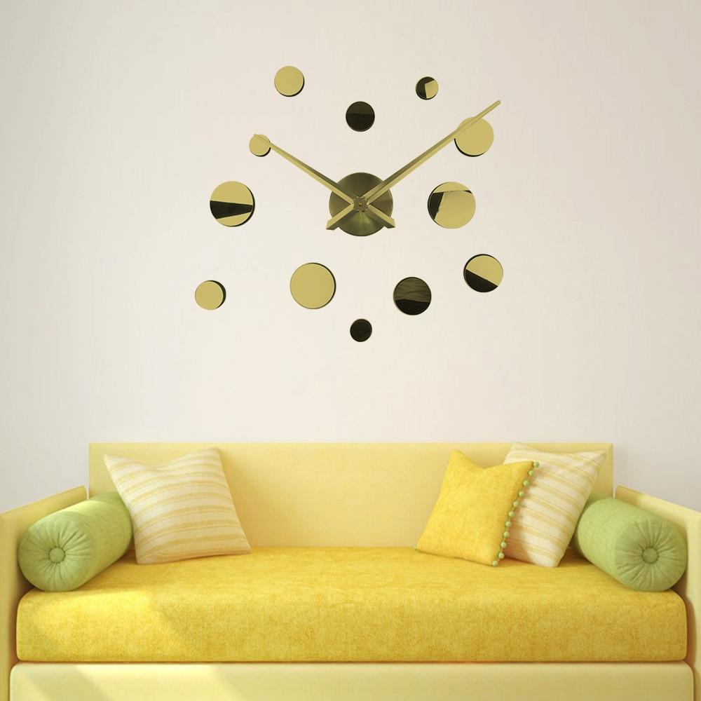 New DIY 3d Home Decoration Wall Clock Mirror Large wall clock 3d ...