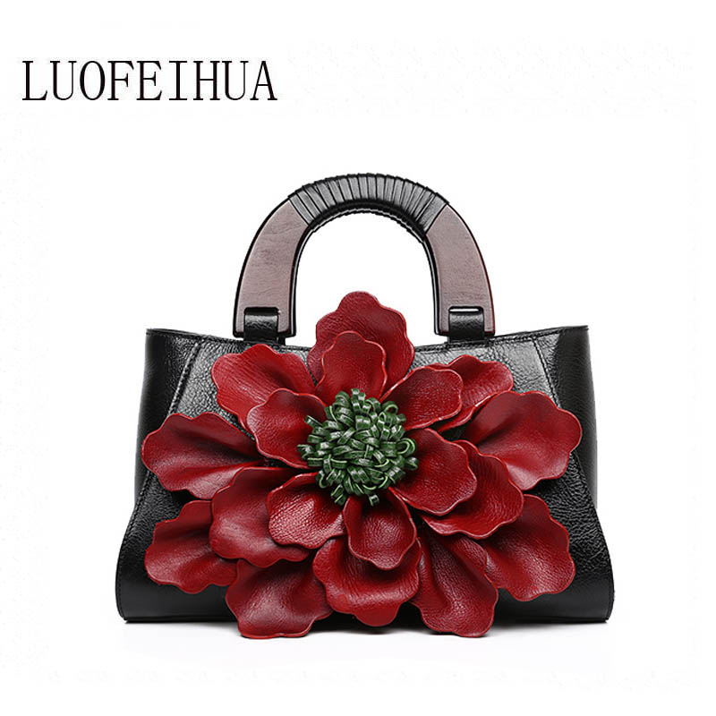 LUOFEIHUA  2019 new original three-dimensional flower head layer leather handbag leather crossbody bag Handbags WomenLUOFEIHUA  2019 new original three-dimensional flower head layer leather handbag leather crossbody bag Handbags Women