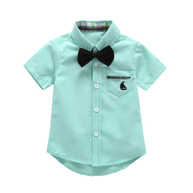 New Cute Toddler Baby Boys Gentleman Shirts Solid Short Sleeve Tie Tops Pocket Clothes Wholesale And Drop Shipping