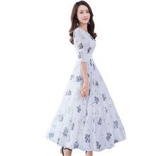 Шифоновое длинное платье с цветочным принтом большого размера, женское летнее платье с v-образным вырезом, новинка, модное элегантное платье макси для вечеринок