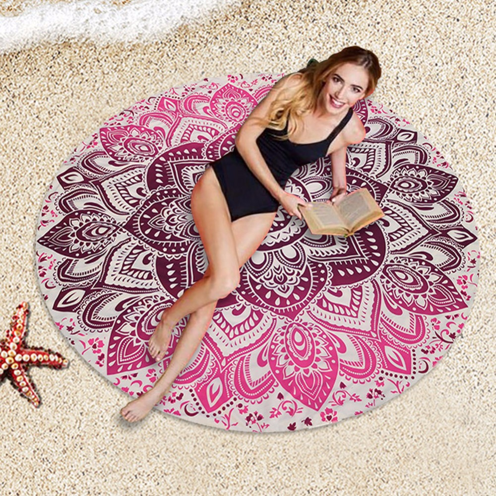 150cm flowers printed round beach towels summer chiffon. Black Bedroom Furniture Sets. Home Design Ideas