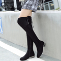 New PU nubuck leather side zipper boots chunky square heel over-the-knee boots Fashion women boots  plus size 33-43
