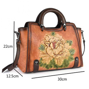 Image 5 - Johnature 2020 New Retro Cowhide Embossed Large Capacity Women Handbag Genuine Leather Floral Casual Shoulder&Crossbody Bags