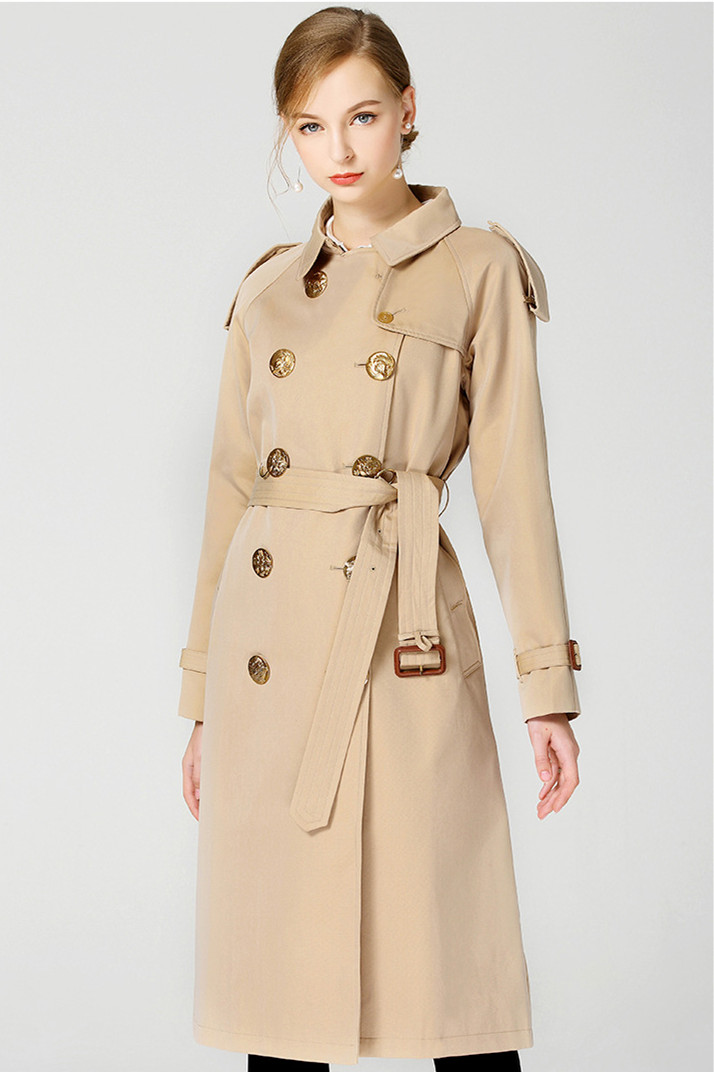 Top quality england style buttons Trench coats European style elegant women long windbreaker coat Chic lady wind coat D519 in Trench from Women 39 s Clothing