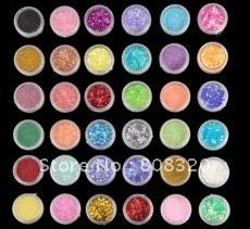 Freeshiping!!! 72 PCS NAIL ART SALON GLITTER POWDER SHEET DUST SHELL FLOWER DECORATION SET U1