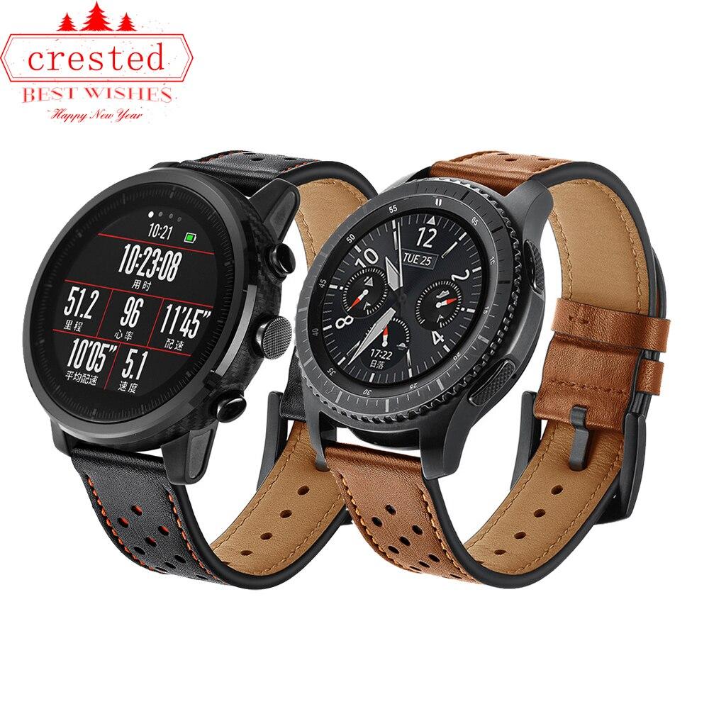 22mm correa de reloj para Samsung Gear S3 frontera/Galaxy ver 46mm banda de cuero correa de reloj de Huami Amazfit pace/Stratos 2/1
