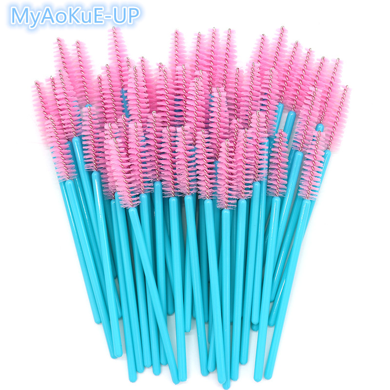 500pcs/lot One-off Nice Pink Brushes Makeup Brush Mascara Wands Eyelash Extension Nylon brushes цена