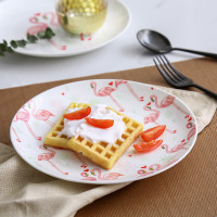 Flamingo Pattern Plates Western Restaurant Dessert Tray Christmas Gift Party Kitchen Utensils Shops Cakes Plate Porcelain Ware