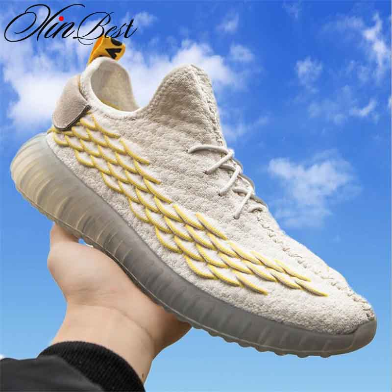 Xinbest 2019 New Fish Scale Pattern Men s Shoes Fly Weave Sports Breathable Coconut Shoes Net Top Running Shoes Fitness shoes