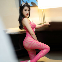 transparent Camisole Rose red Wave pattern body-Stocking Tighten body sexy costumes catsuit bodystocking open crotch lingerie