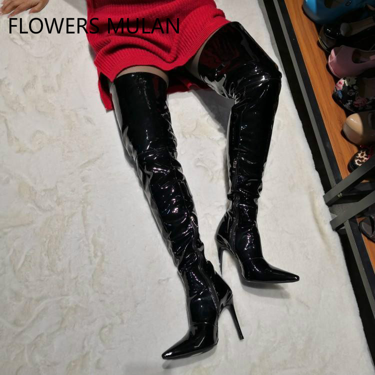 Black Shiny Leather Thigh High Boots Women Pointed Toe Super High Heels Side Zipper Sexy Lady Night Club Show Zapatos De MujerBlack Shiny Leather Thigh High Boots Women Pointed Toe Super High Heels Side Zipper Sexy Lady Night Club Show Zapatos De Mujer