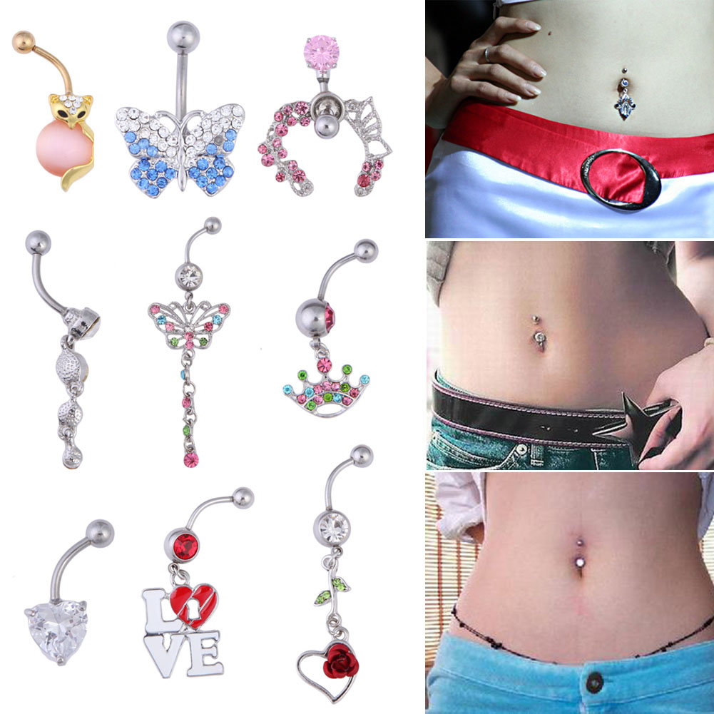 Jewelry & Accessories Trendy Girl Crystal Heart Key Shape Navel Nail Fashion Jewelry Heart Open Woman Belly Button Rings Accessories Jewelry Sets & More