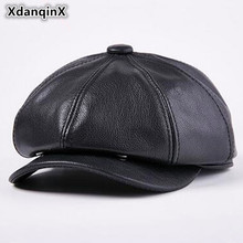 XdanqinX 2018 Winter New Style Cowhide Mens Berets Thicker Warm Leather Hats Male Bone Genuine Cap Dads Hat