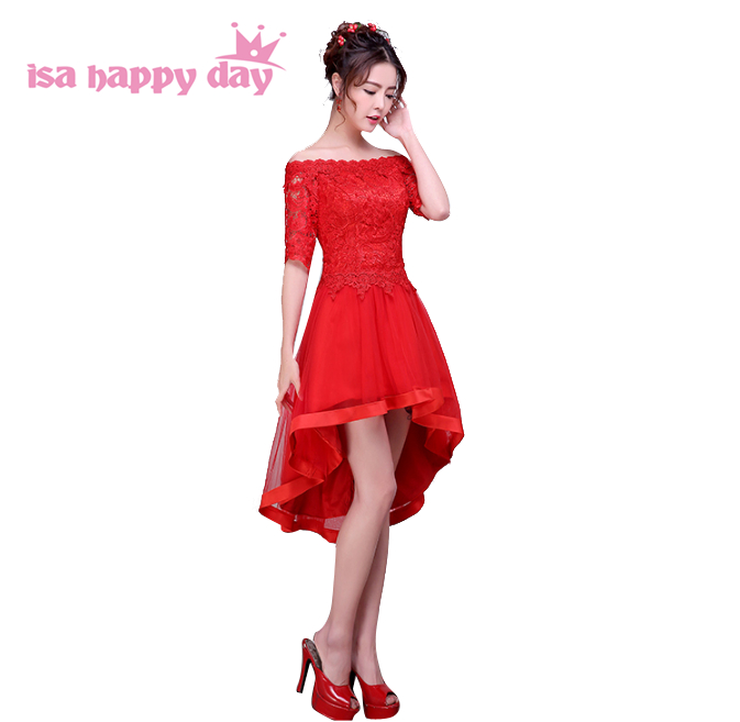 elegant lace short puffy red bridal prom dresses high low off shoulder dress for girls specail occasions for women H3621
