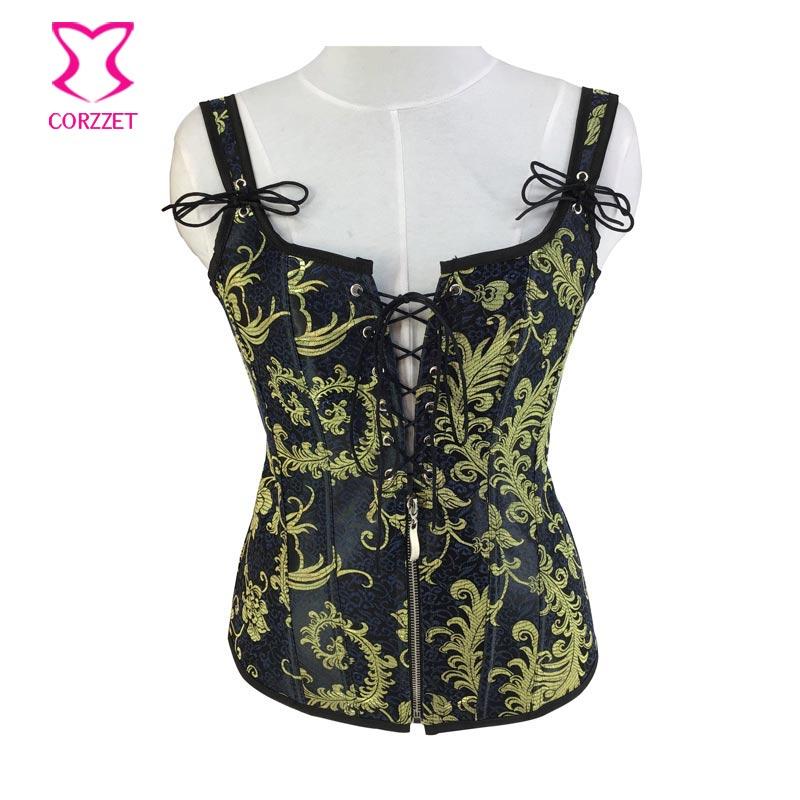 Steampunk Sexy vert Floral brocart Burlesque femmes corset gothique vêtements BodyShaper taille formateur Corsetto Bustier T