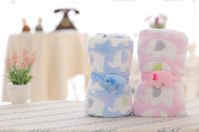 2016 Venta Caliente Elefante Bebé Recién Nacido Manta de Color Rosa/Azul Bebé Coral Polar Manta Muselina Mejor Regalo de Múltiples Funciones 95*83 cm/37 * 32in