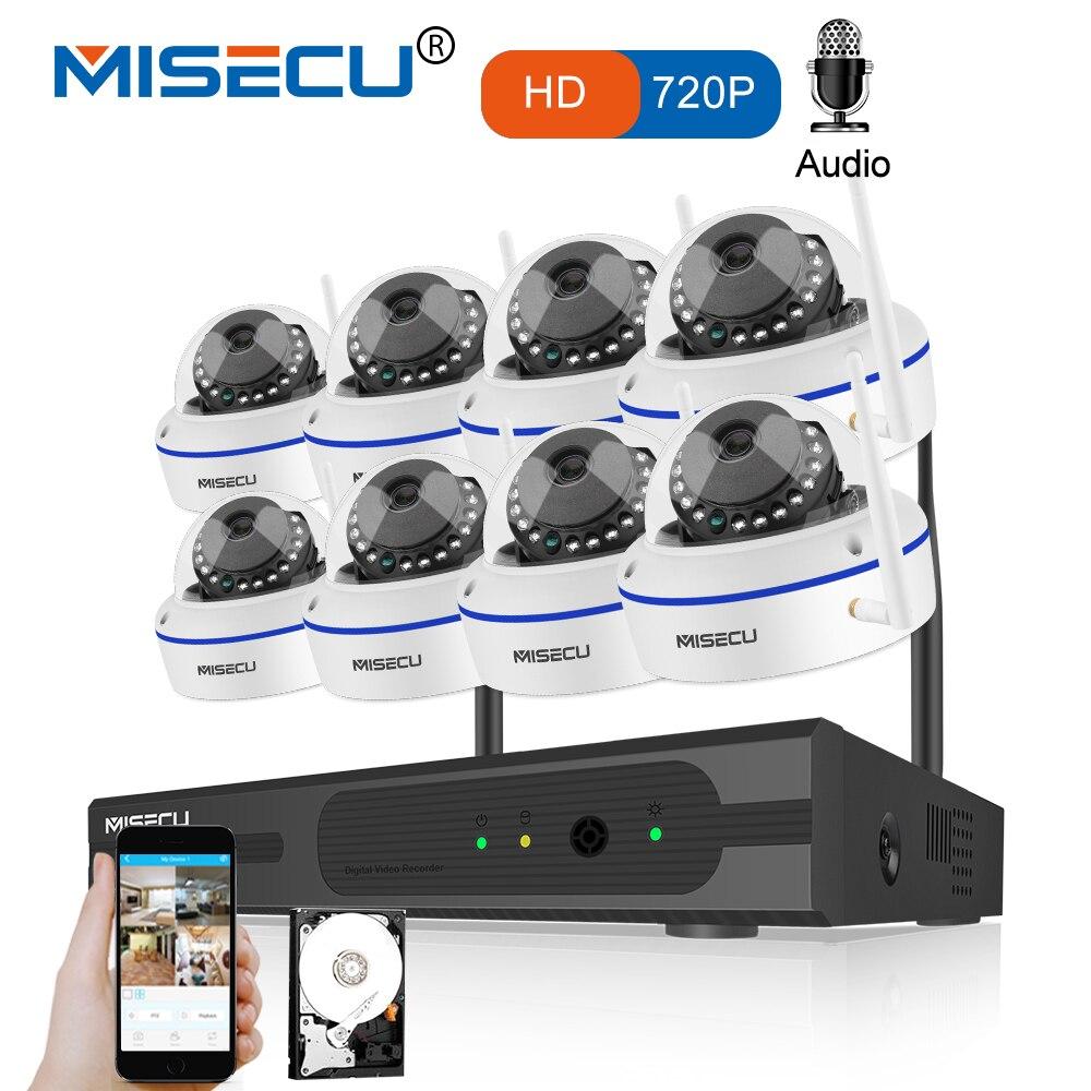 MISECU 8CH CCTV Système Sans Fil 720 p NVR Avec 1.0MP Anti-Vandalisme Intérieur Wifi Caméra Enregistrement Audio Vision Nocturne Surveillance Kit