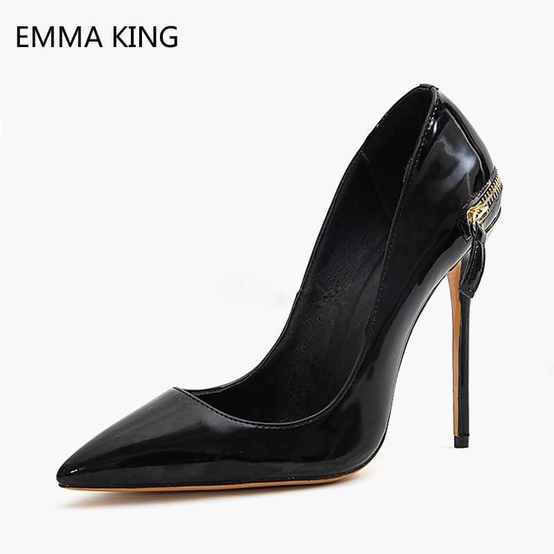 Pompes Chaussures Printemps Sur Femmes Glissement Hauts De Cm 12 Dames Zip 10 Cuir Picture En Bout Ville Pointu Noir Talons As Aiguilles zqxYp