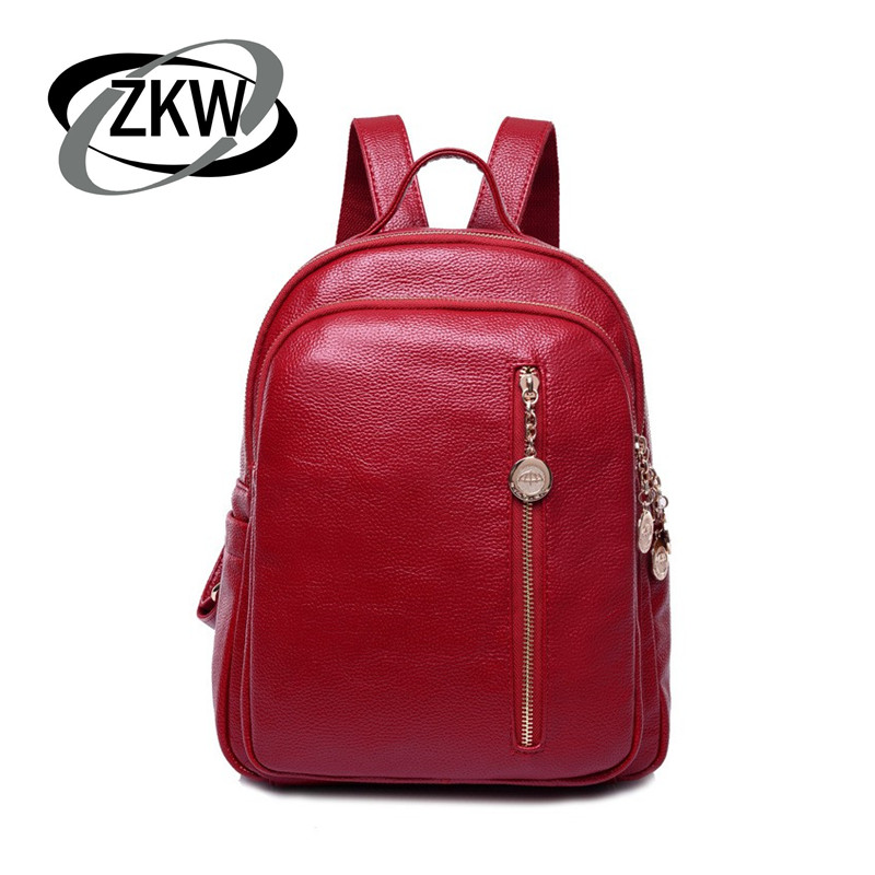 ZKW Lastest Fashion Casual Backpack Solid Color Women s Genuine Leather Portable One Shoulder School Bag